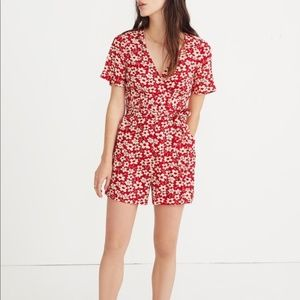 Madewell Wrap-Front Romper in Mini Daisy 10